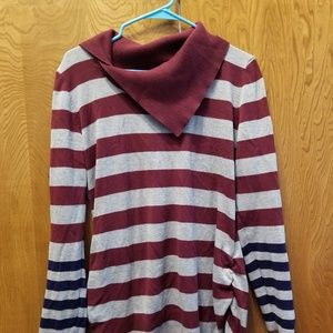 Stripped cowl sweater